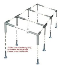 This Kit is for building your own Slant Top, Lean-to Deck Canopy, Carport, Tent, or Shade. The kit contains ONLY the fitting together with Tarp cover and Bungee cords. The POLE for form the roof and Legs are not part of this Sale.