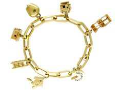 Swiss Charms Silver Gilt Bracelet - The Antique Jewellery Company
