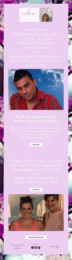 Special Event Wednesday July 2019 - Trance Mediumship Sittings with International Medium Jayson Harrington (formerly known as Jay Love) Upcoming Events, Trance, Love Book, Appointments, Books Online, Special Events, Jay, Promotion, Reading
