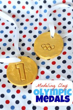 Help your child make his very own Gold medals! We halved our baking soda modeling clay recipefor the boys to participate in creating their gold-medal mas