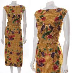 STUNNING TAN BATIK LOVE BIRD vintage 40s COTTON BOATNECK PENCIL WIGGLE DRESS M L in   eBay