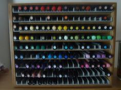 """Copic/Promarker Storage - made with Ikea's DVD storage rack! 14"""" wide x 11"""" high. ♥"""