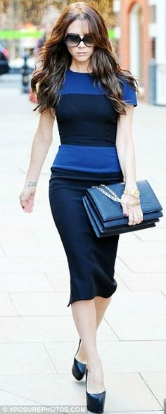 #VictoriaBeckham, (her line),Below the Knee Dress, Blue horizontal thick lines