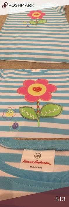 Hanna Anderson girls summer flower appliqué shirt Worn only a couple of times and from a pet and smoke free home Hanna Anderson Shirts & Tops Tees - Short Sleeve