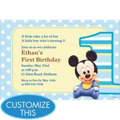 Download free printable mickey mouse invitations exclusive mickey mouse 1st birthday custom invitation party city stopboris Images