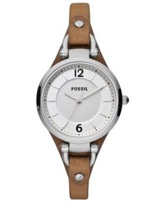Fossil Watch, Women's Georgia Brown Leather Strap 32mm ES3060 - Women's Watches - Jewelry & Watches - Macy's $75
