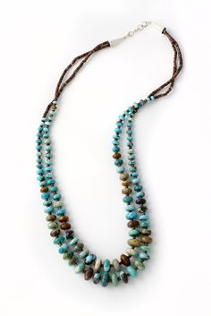 Navajo Turquoise Bead Double Strand Necklace | Silver Eagle Gallery