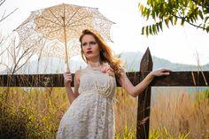 Umbrella retro vintage ivory lace hand made by Luanakeylla on Etsy, $195.00