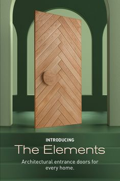 Introducing Elements, our new collection of architectural entrance doors. Each door in the range is crafted from sustainable timber and finished with an oak veneer that can be stained in a diverse spectrum of colours. Explore the timeless herringbone design and discover how the pattern is suited to both modern and classic styles. House Entrance, Entrance Doors, Eco Buildings, Timber Panelling, Melbourne House, Queenslander, Front Door Design, Shed Homes, Dream House Exterior