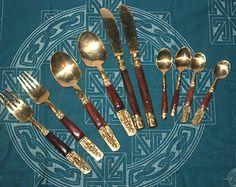 Vintage Thai Teak and Nickel Bronze Flatware Cutlry Set, Budha, Antique Alchemy