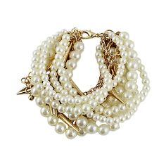 Gold Pearl Rivet Multilayers Bracelet ($5.40) ❤ liked on Polyvore featuring jewelry, bracelets, sheinside, accessories, gold, layered jewelry, rivet jewelry and gold pearl jewelry