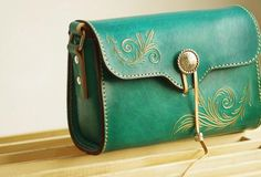 Handcraft retro crossbody leather floral hand dyed shoulder bag /handbag for women