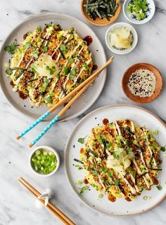 Learn how to make Japanese street food at home with this okonomiyaki recipe! These delicious savory pancakes are filled with cabbage, scallions, and more. Vegetarian Cabbage, Vegetarian Recipes, Vegan Vegetarian, Healthy Recipes, Bean Recipes, Pasta Recipes, Japanese Street Food, Food Porn