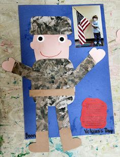 Veteran's Day is never to be forgotten and it is never too early to talk about it with children. Friday we spent the entire day playing pat. Veterans Day Activities, Holiday Activities, Preschool Crafts, Preschool Ideas, Craft Ideas, Preschool Centers, Teaching Ideas, Fall Crafts, Holiday Crafts