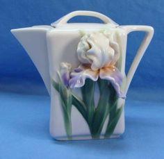 RARE Franz Porcelain Iris Tasse Flowered Porcelain Teapot w Lid FZ00818 Signed | eBay
