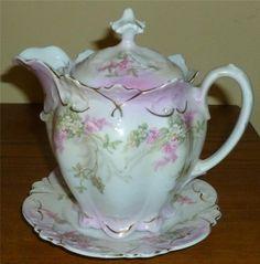 Antique Victorian MZ Austria Gilt Pink Floral Single Serve Teapot Porcelain