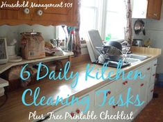 6 daily kitchen cleaning tasks, plus free printable checklist {on Household Management 101}