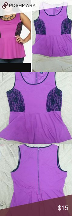 Torrid Purple Laced  Top Torrid Purple tank with lace accent Nearly New pre-loved torrid Tops