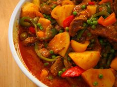 Caldereta (Filipino beef and vegetable stew) - Recipes - Beef - Caldereta Recipe, Beef Caldereta, Meat Recipes, Asian Recipes, Cooking Recipes, Ethnic Recipes, Asian Foods, Delicious Recipes, Recipes