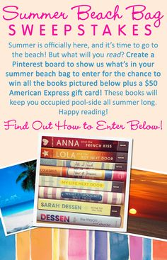 "No purchase necessary. US only, age 13 or older. Official rules: http://on.fb.me/1sR4xAo How to Enter: 1. Follow Penguin Teen on Pinterest 2. Create a board titled ""Penguin Teen Summer Beach Bag"" 3. Pin at least 1 summer inspired pin to your Summer Beach Bag board 4. Use #SummerReads and #PenguinTeen in the description of each pin 5. Post the link to your board in the comments section of this pin 6. One winner will receive the pictured books & a $50 American Express gift card."