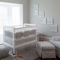 Gray and White Dots and Stripes Crib Bedding | Gender Neutral Baby Bedding | Carousel Designs