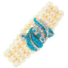 1950s Pearl Turquoise Diamond Platinum Bracelet | From a unique collection of vintage more bracelets at https://www.1stdibs.com/jewelry/bracelets/more-bracelets/