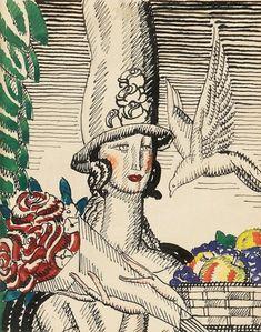 """djinn-gallery: """"JEAN DUPAS (Francia, 1882-1964). Estudio para el cartel Arnold Constable 1928 """""""