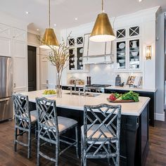 The Chinoiserie Kitchen Goodman hanging pendants bamboo Chippendale  Barstools Circa Lighting Deuville Sconce