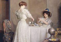 ~ William McGregor Paxton ~ American painter, 1869-1941: Tea Leaves