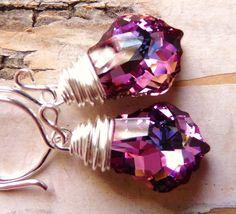 Swarovski Glass Earrings Rose Pink & Light Lavender by JBMDesigns