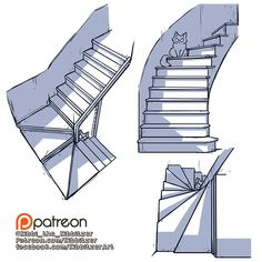 Perspective Drawing Lessons, Perspective Art, How To Draw Stairs, Body Drawing Tutorial, Background Drawing, Digital Art Tutorial, Environment Concept Art, Drawing Reference Poses, Drawing Base