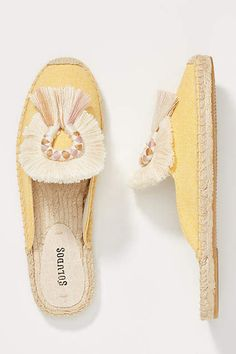 Soludos Kik Tasseled Mules at Anthropologie - A playful tassel adorns this eye-catching pair of espadrille slides - they're the perfect meeting point between sandal and slipper. Snakeskin Boots, Wedding Tattoos, Hot Shoes, Women's Shoes, Summer Shoes, Summer Sandals, Women's Sandals, Water Shoes, Ladies Dress Design