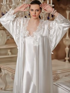 Luxury silk and lace nightgowns Satin Lingerie, Pretty Lingerie, Bridal Lingerie, Beautiful Lingerie, Satin Sleepwear, Sleepwear Women, Wedding Night Lingerie, Underwear, Satin Blouses
