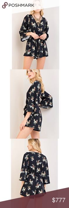 "💕ARRIVED💕 Black Floral Waist Tie Romper This romper features a black with a contrasting floral pattern all over. It's a faux wrap style with a v neck and a self tie feature at the elastic waist line. The sleeves are bell sleeves. unlined and non-Sheer. Lightweight material that's a soft jersey knit. (A) Meas. approx/unstretched S: B-17"" W-11"" L-31"" M: B-18"" W-12"" L-31"" L: B-19"" W-13"" L-32""  💋 each item comes prepackaged from manufacturer 💋 quality guaranteed  💋 offers welcome ; bundle…"