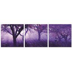 Furinno Purple Trees 3 Piece Photographic Print Set