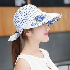 Women Ladies Summer Cool UV Straw Hat Beach Sunscreen Visor Straps Cap