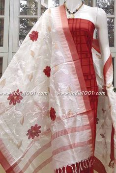 Designer Tussar Silk Dupatta with Embroidery