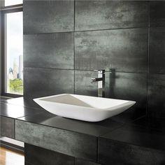 Countertop Stone Resin Sink Rectangular by Modern Bathroom Basin 5060472884695 Square Bathroom Sink, Modern Bathroom Sink, Modern Sink, Bathroom Basin, Bathrooms, Bathroom Ideas, Bathroom Furniture, Bathroom Mirrors, Master Bathroom