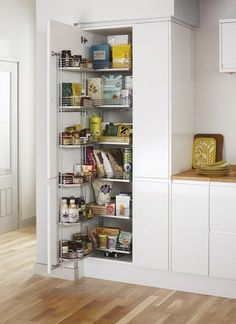 New Kitchen Pantry Cabinet Plans Cupboards Ideas Larder Unit, Kitchen Larder, Larder Cupboard, Kitchen Pantry Cabinets, Kitchen Units, Cupboard Storage, Kitchen Storage, New Kitchen, Kitchen Ideas