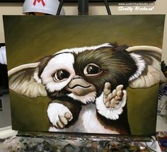 """'Giz' acrylics on 16x20"""" canvas board Occasionally I paint something that isn't someone's pet, just something for me. (clears out the cobwebs in my head) Over the weekend I felt the urge to finish up my in-progress painting of my favorite Mogwai from Gremlins. I always wanted to paint him, and now I have! I think I smiled the entire time. :) Keep Image, Gremlins Gizmo, Canvas Board, Acrylics, Wood Projects, Old School, Paintings, Tattoos, Drawings"""