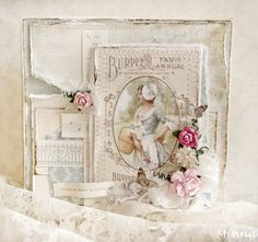 Beautiful card by Minna for Pion Design. Papers and image from Vintage Garden.