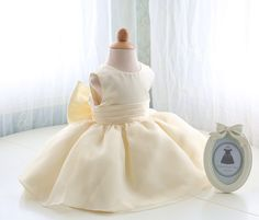 Light Yellow Flower Girl Dress Baby Dress Lace Infant by PLdress