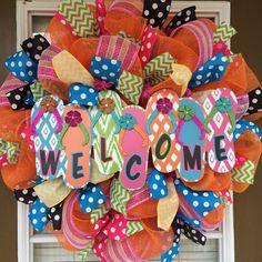 Bright colorful Summer Welcome Door Wreath