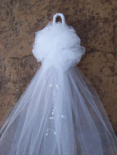 White Tulle and Pearl Bows, Church Pew, White Pew Bows, Aisle Decor, Quinceanera Decorations