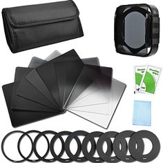 Introducing Neutral Density Filter Set Full ND2 ND4 ND8 ND16  Graduated ND2 ND4 ND8 ND16 Filters  9 Filter Adaptors 495255586267727782MM  Filter Holder  Lens Hood  Filter Case for Canon Nikon Sony. Great Product and follow us to get more updates!