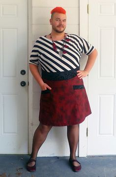 """Really, who says feminine clothes are only for women or men who want to look like women? This guy just loves dresses and skirts *and cute shoes*, as a guy, and blogs about it. :D Fashion freedom for men!"""