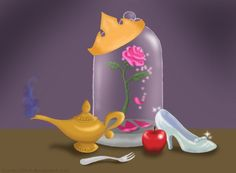 Disney Princess tattoo Idea, add a couple more things for a few more princesses and itd be perfect!