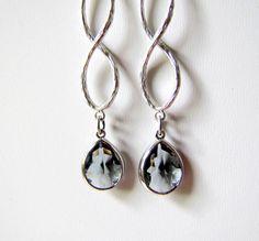 Gray Infinity Earrings Silver Infinity Minimalist by TwigsAndLace, $26.00