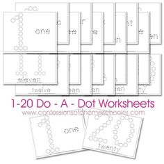 Free Do-a-dot number worksheets from Confessions of a Homeschooler--fill in with bingo marker or pom poms Teaching Numbers, Numbers Preschool, Math Numbers, Preschool Printables, Preschool Worksheets, Preschool Learning, Printable Worksheets, Preschool Activities, Free Worksheets