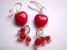Red Glass Heart Drop Earrings Doodaba by doodaba on Etsy Fall Jewelry, Jewelry Party, Jewelry Sets, Valentines Jewelry, Red Earrings, Red Glass, Burgundy, Drop, Heart